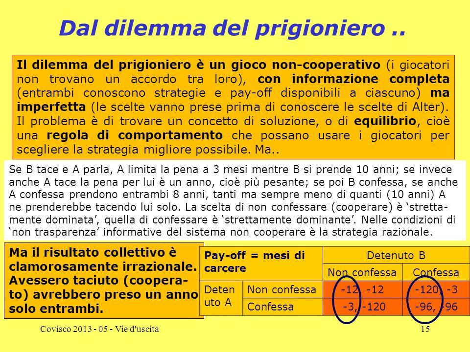 Covisco 2013 - 05 - Vie d uscita15 Dal dilemma del prigioniero..