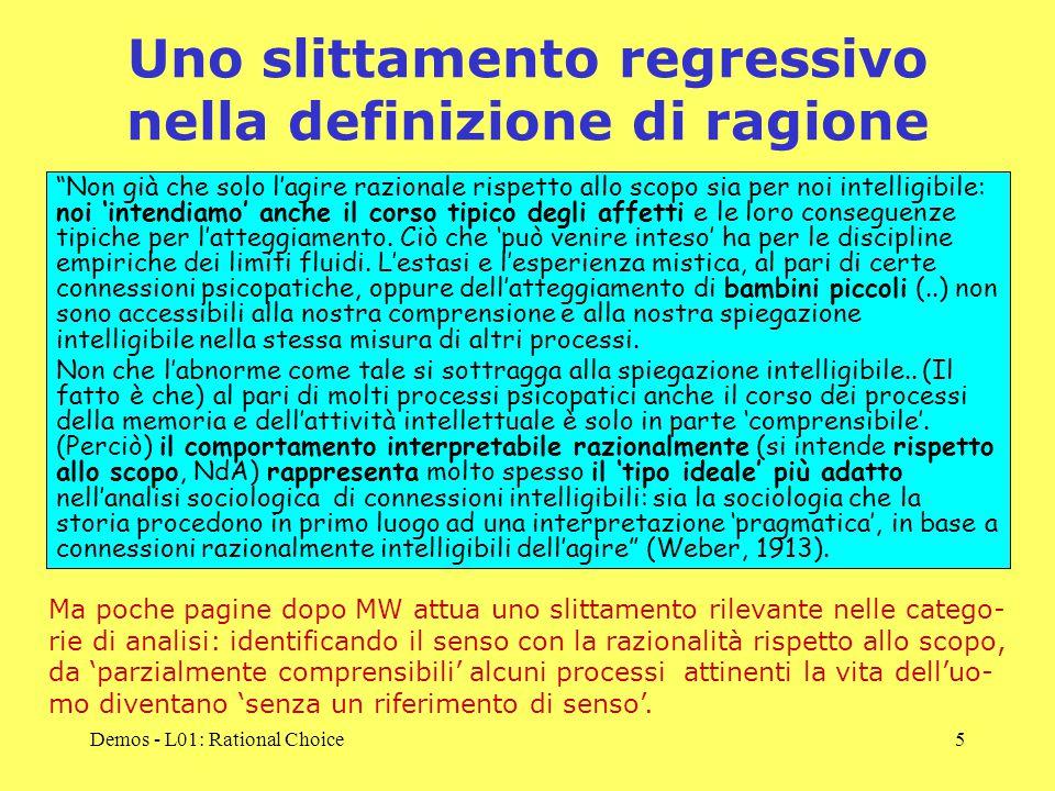 Demos - L01: Rational Choice5 Uno slittamento regressivo nella definizione di ragione Non già che solo l'agire razionale rispetto allo scopo sia per noi intelligibile: noi 'intendiamo' anche il corso tipico degli affetti e le loro conseguenze tipiche per l'atteggiamento.