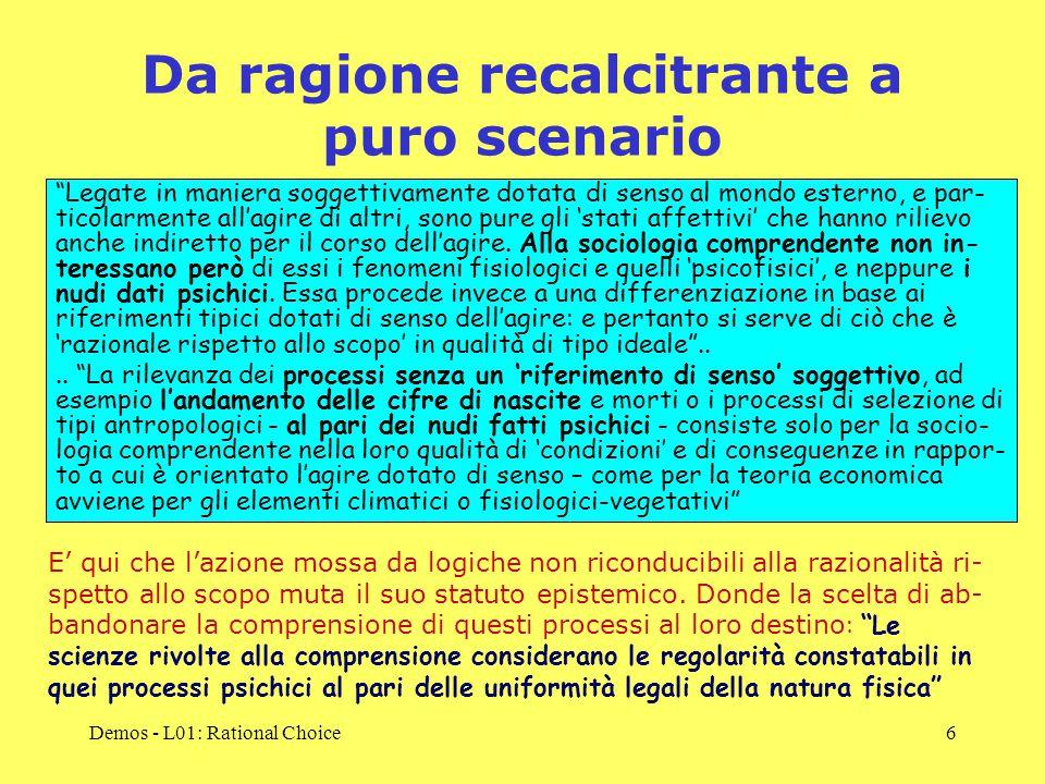 Demos - L01: Rational Choice7 Un passo indietro: l'interesse nasce come 'buona passione' La 'razionalità strumentale', basata sul principio di interesse, emerge nel Seicento, quando la mobilità sociale inizia a diffondersi nella società (Eversley, 1959).