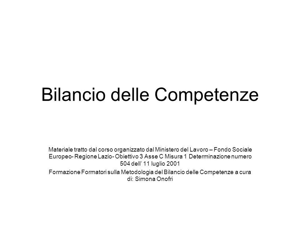 Bilancio delle Competenze Materiale tratto dal corso organizzato dal Ministero del Lavoro – Fondo Sociale Europeo- Regione Lazio- Obiettivo 3 Asse C M