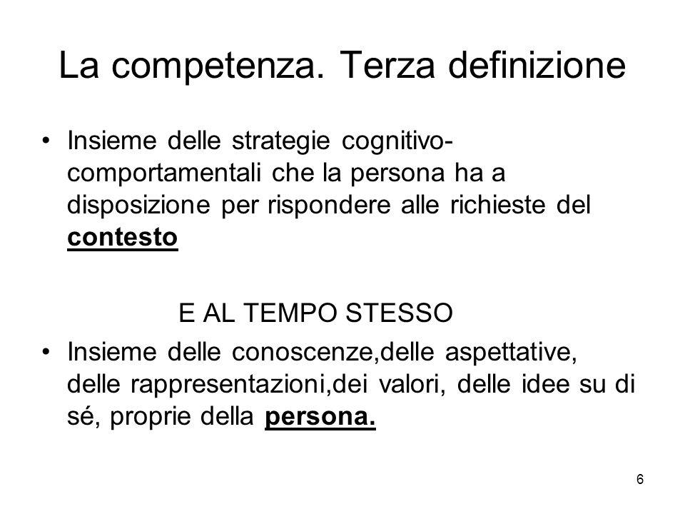La competenza. Terza definizione Insieme delle strategie cognitivo- comportamentali che la persona ha a disposizione per rispondere alle richieste del