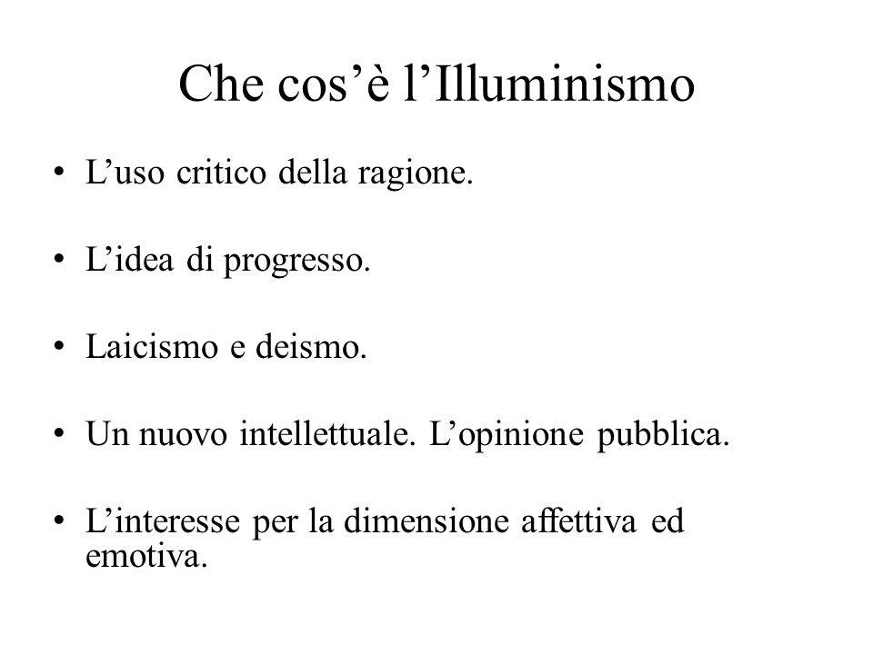 Che cos'è l'Illuminismo L'uso critico della ragione. L'idea di progresso. Laicismo e deismo. Un nuovo intellettuale. L'opinione pubblica. L'interesse