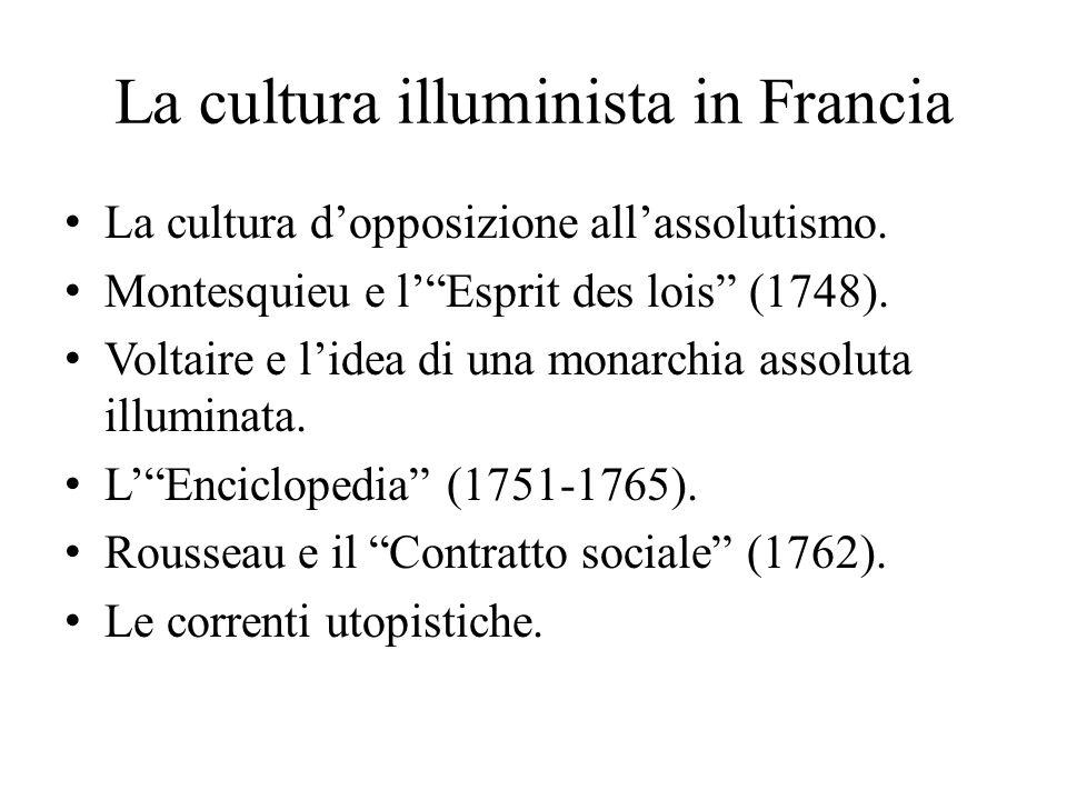 """La cultura illuminista in Francia La cultura d'opposizione all'assolutismo. Montesquieu e l'""""Esprit des lois"""" (1748). Voltaire e l'idea di una monarch"""
