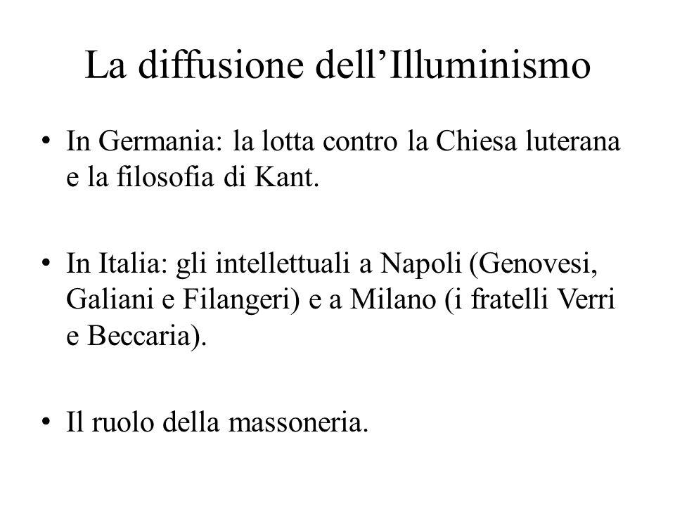 La diffusione dell'Illuminismo In Germania: la lotta contro la Chiesa luterana e la filosofia di Kant. In Italia: gli intellettuali a Napoli (Genovesi