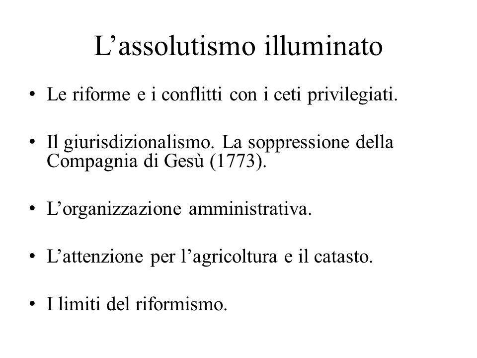 L'assolutismo illuminato Le riforme e i conflitti con i ceti privilegiati. Il giurisdizionalismo. La soppressione della Compagnia di Gesù (1773). L'or
