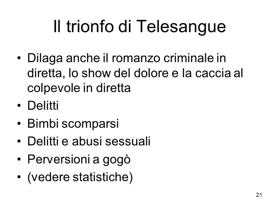 21 Il trionfo di Telesangue Dilaga anche il romanzo criminale in diretta, lo show del dolore e la caccia al colpevole in diretta Delitti Bimbi scomparsi Delitti e abusi sessuali Perversioni a gogò (vedere statistiche)