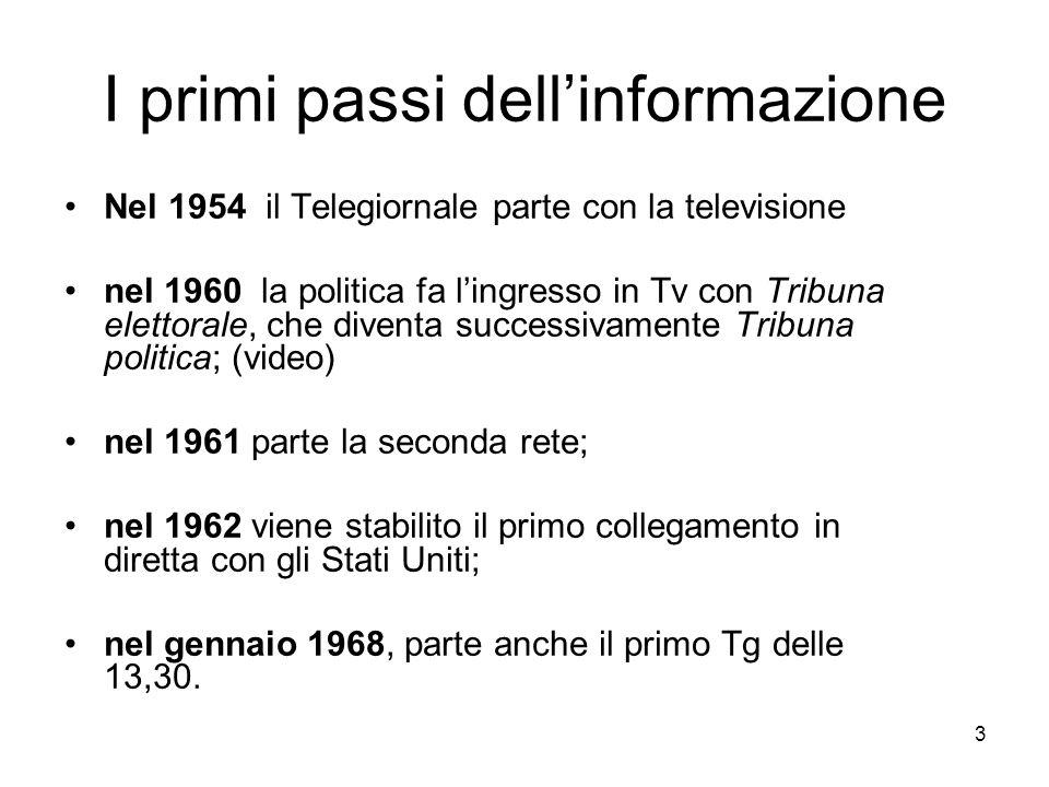 3 I primi passi dell'informazione Nel 1954 il Telegiornale parte con la televisione nel 1960 la politica fa l'ingresso in Tv con Tribuna elettorale, che diventa successivamente Tribuna politica; (video) nel 1961 parte la seconda rete; nel 1962 viene stabilito il primo collegamento in diretta con gli Stati Uniti; nel gennaio 1968, parte anche il primo Tg delle 13,30.