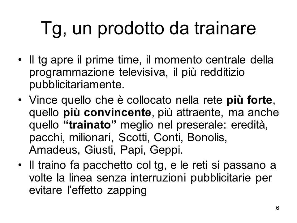 6 Tg, un prodotto da trainare Il tg apre il prime time, il momento centrale della programmazione televisiva, il più redditizio pubblicitariamente.