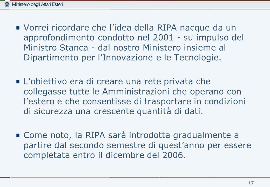 17 Vorrei ricordare che l'idea della RIPA nacque da un approfondimento condotto nel 2001 - su impulso del Ministro Stanca - dal nostro Ministero insieme al Dipartimento per l'Innovazione e le Tecnologie.