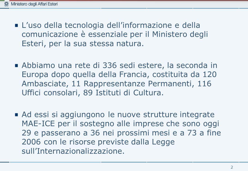 2 L'uso della tecnologia dell'informazione e della comunicazione è essenziale per il Ministero degli Esteri, per la sua stessa natura.
