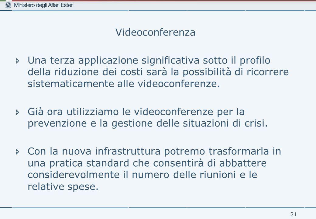 21 Videoconferenza  Una terza applicazione significativa sotto il profilo della riduzione dei costi sarà la possibilità di ricorrere sistematicamente alle videoconferenze.
