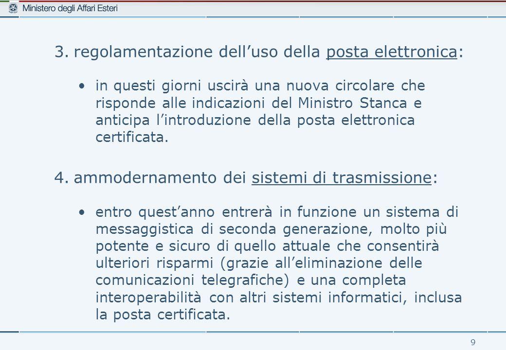9 3.regolamentazione dell'uso della posta elettronica: in questi giorni uscirà una nuova circolare che risponde alle indicazioni del Ministro Stanca e anticipa l'introduzione della posta elettronica certificata.