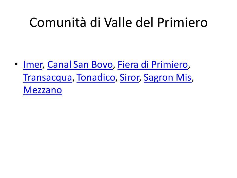 Comunità di Valle del Primiero Imer, Canal San Bovo, Fiera di Primiero, Transacqua, Tonadico, Siror, Sagron Mis, Mezzano ImerCanal San BovoFiera di Primiero TransacquaTonadicoSirorSagron Mis Mezzano