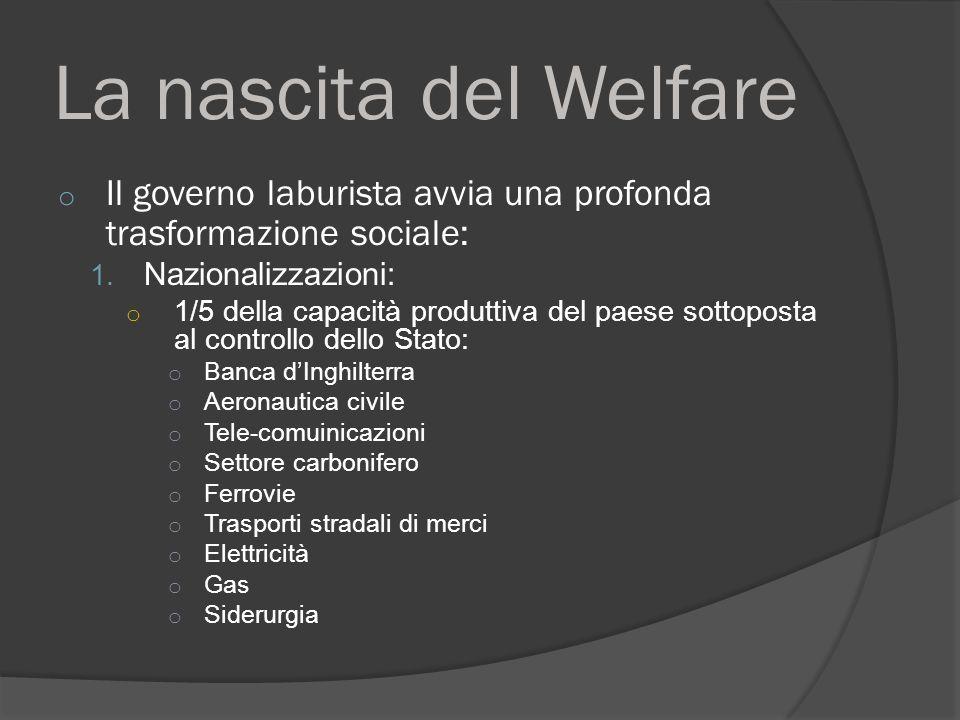 La nascita del Welfare o Il governo laburista avvia una profonda trasformazione sociale: 1.