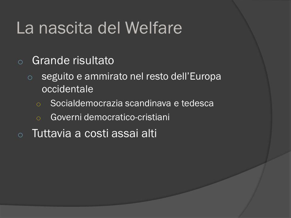 La nascita del Welfare o Grande risultato o seguito e ammirato nel resto dell'Europa occidentale o Socialdemocrazia scandinava e tedesca o Governi democratico-cristiani o Tuttavia a costi assai alti