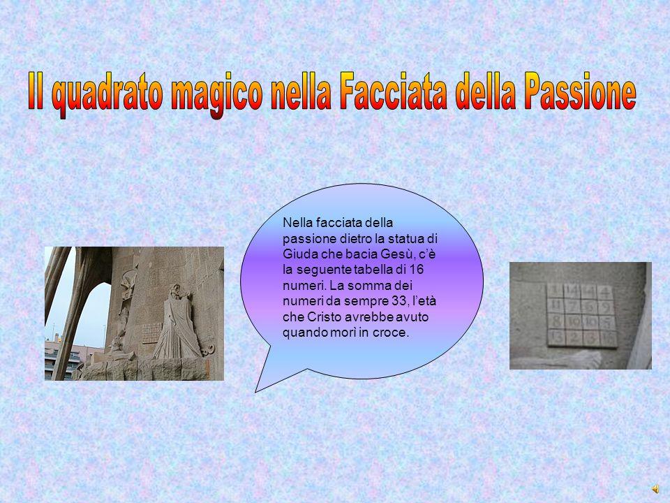 Nella facciata della passione dietro la statua di Giuda che bacia Gesù, c'è la seguente tabella di 16 numeri. La somma dei numeri da sempre 33, l'età