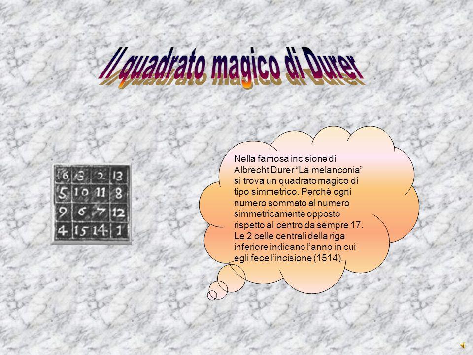 """Nella famosa incisione di Albrecht Durer """"La melanconia"""" si trova un quadrato magico di tipo simmetrico. Perchè ogni numero sommato al numero simmetri"""