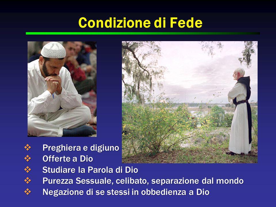 Condizione di Fede  Preghiera e digiuno  Offerte a Dio  Studiare la Parola di Dio  Purezza Sessuale, celibato, separazione dal mondo  Negazione di se stessi in obbedienza a Dio