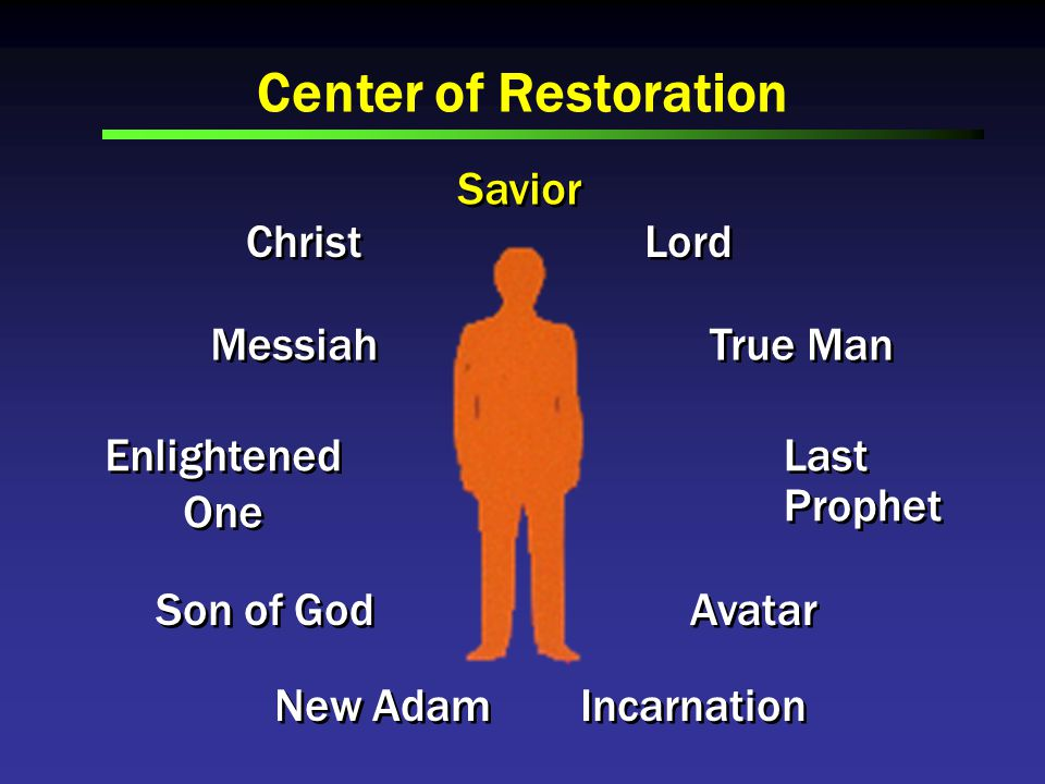 Center of Restoration Savior Christ Messiah Enlightened One Enlightened One Son of God New Adam Incarnation Avatar Last Prophet Last Prophet True Man Lord
