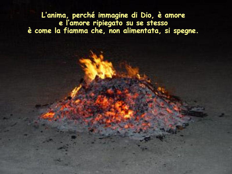 L'anima, perché immagine di Dio, è amore e l'amore ripiegato su se stesso è come la fiamma che, non alimentata, si spegne.
