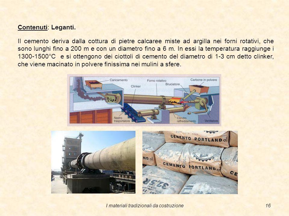 I materiali tradizionali da costruzione15 Contenuti: Leganti.