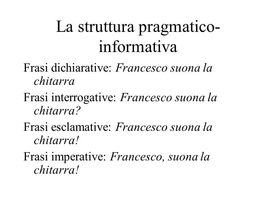 La struttura pragmatico- informativa Frasi dichiarative: Francesco suona la chitarra Frasi interrogative: Francesco suona la chitarra? Frasi esclamati
