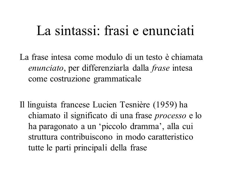 La sintassi: frasi e enunciati La frase intesa come modulo di un testo è chiamata enunciato, per differenziarla dalla frase intesa come costruzione gr