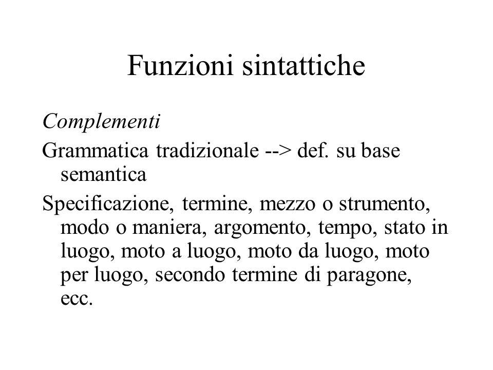 Funzioni sintattiche Complementi Grammatica tradizionale --> def. su base semantica Specificazione, termine, mezzo o strumento, modo o maniera, argome