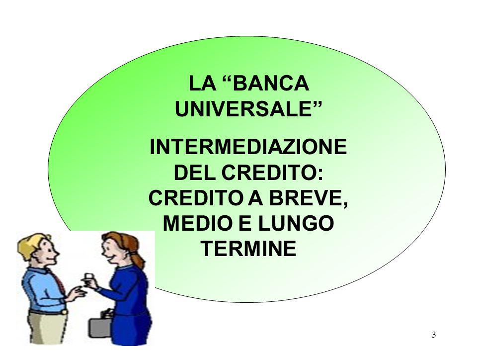 """3 LA """"BANCA UNIVERSALE"""" INTERMEDIAZIONE DEL CREDITO: CREDITO A BREVE, MEDIO E LUNGO TERMINE"""