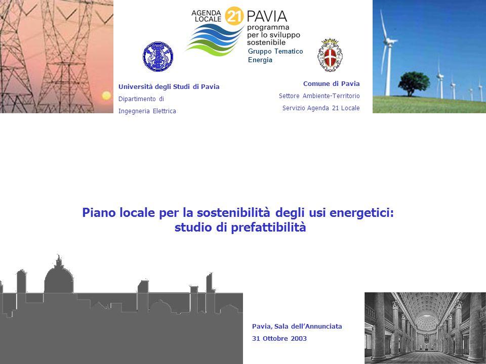 1 Piano locale per la sostenibilità degli usi energetici: studio di prefattibilità Università degli Studi di Pavia Dipartimento di Ingegneria Elettric