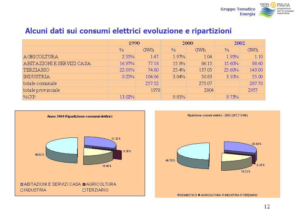 12 Gruppo Tematico Energia Alcuni dati sui consumi elettrici evoluzione e ripartizioni