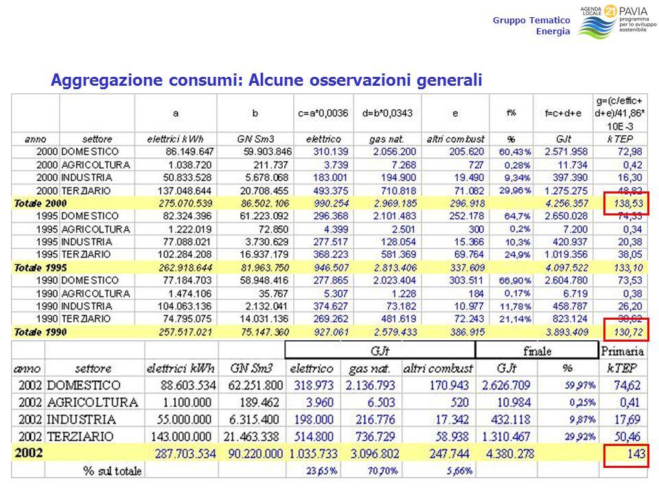 18 Gruppo Tematico Energia Aggregazione consumi: Alcune osservazioni generali