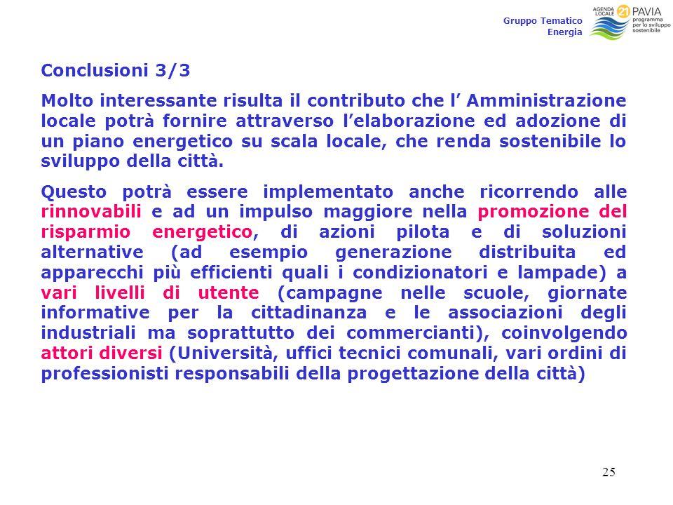 25 Gruppo Tematico Energia Conclusioni 3/3 Molto interessante risulta il contributo che l ' Amministrazione locale potr à fornire attraverso l ' elabo