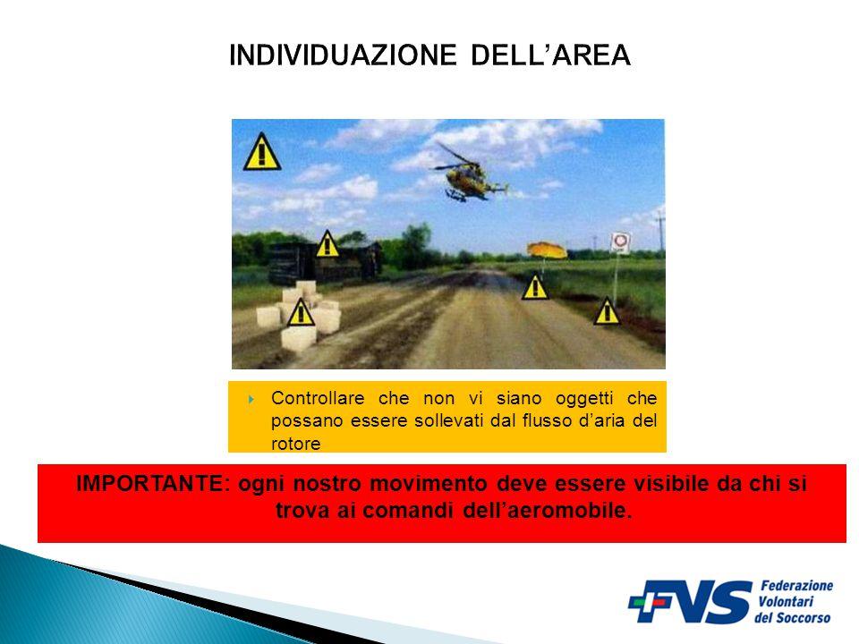  Controllare che non vi siano oggetti che possano essere sollevati dal flusso d'aria del rotore IMPORTANTE: ogni nostro movimento deve essere visibile da chi si trova ai comandi dell'aeromobile.