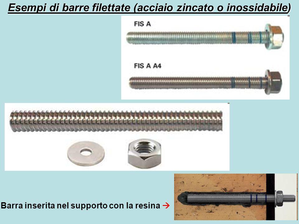 Esempi di barre filettate (acciaio zincato o inossidabile) Barra inserita nel supporto con la resina 