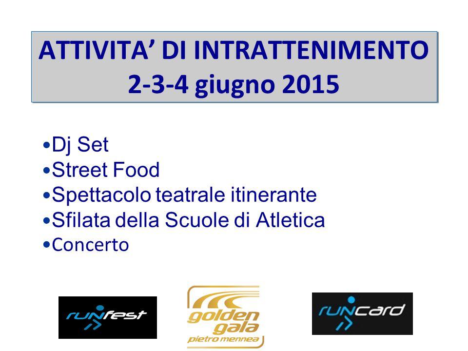 Dj Set Street Food Spettacolo teatrale itinerante Sfilata della Scuole di Atletica Concerto