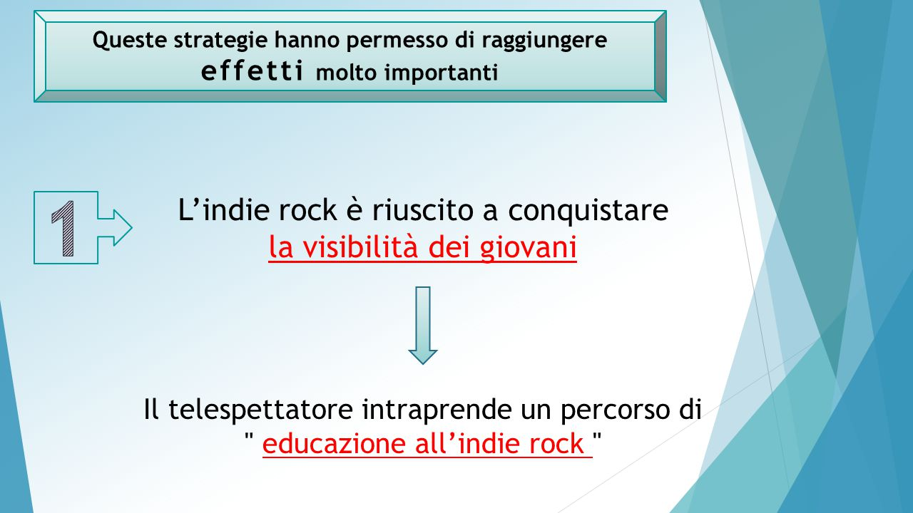 Queste strategie hanno permesso di raggiungere effetti molto importanti L'indie rock è riuscito a conquistare la visibilità dei giovani Il telespettatore intraprende un percorso di educazione all'indie rock