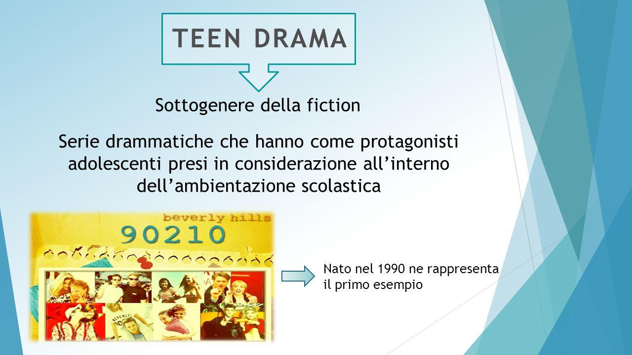 TEEN DRAMA Sottogenere della fiction Serie drammatiche che hanno come protagonisti adolescenti presi in considerazione all'interno dell'ambientazione scolastica Nato nel 1990 ne rappresenta il primo esempio