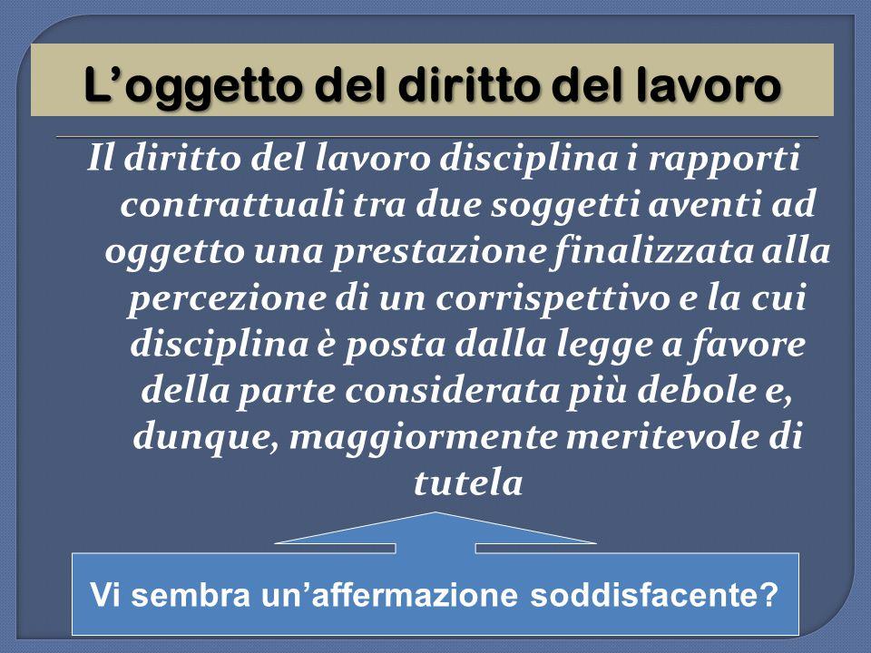 L'oggetto del diritto del lavoro Il diritto del lavoro disciplina i rapporti contrattuali tra due soggetti aventi ad oggetto una prestazione finalizza