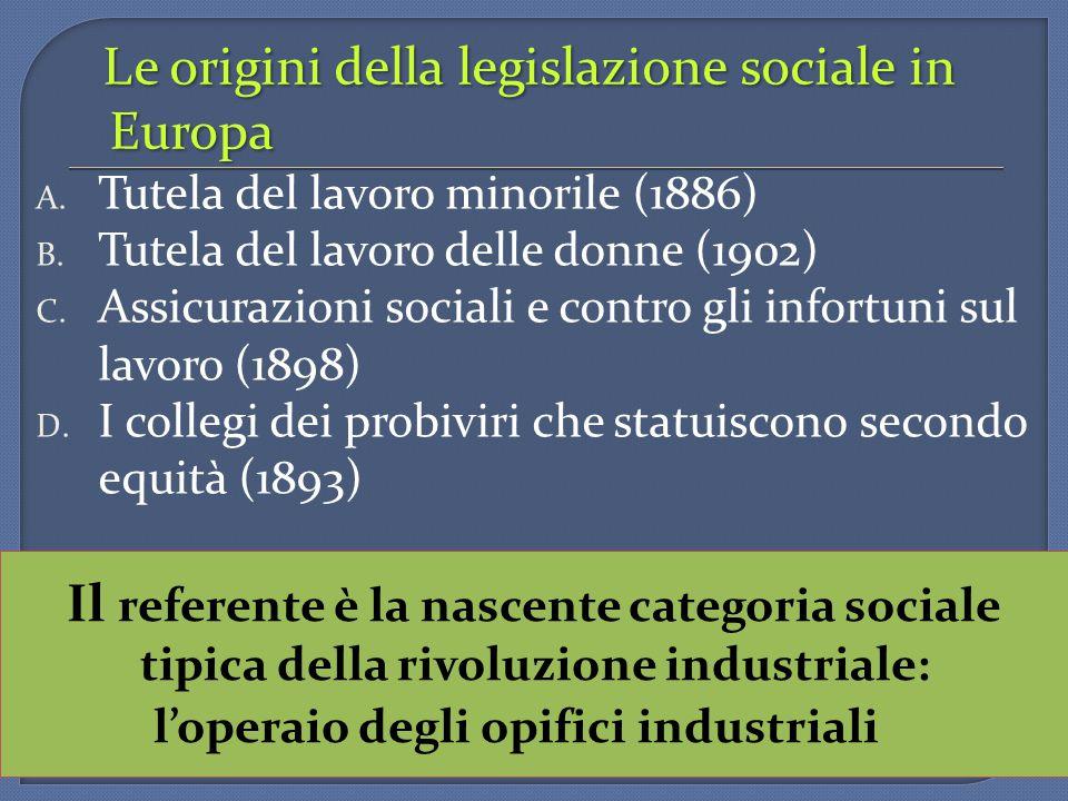 Le origini della legislazione sociale in Europa A. Tutela del lavoro minorile (1886) B. Tutela del lavoro delle donne (1902) C. Assicurazioni sociali