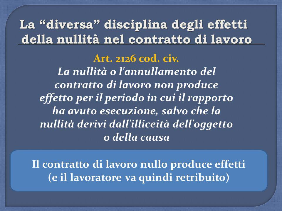 """La """"diversa"""" disciplina degli effetti della nullità nel contratto di lavoro Art. 2126 cod. civ. La nullità o l'annullamento del contratto di lavoro no"""