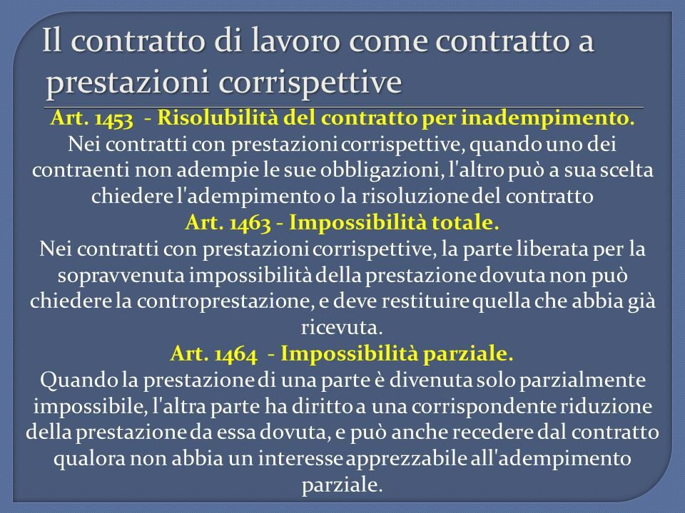 Il contratto di lavoro come contratto a prestazioni corrispettive Art. 1453 - Risolubilità del contratto per inadempimento. Nei contratti con prestazi