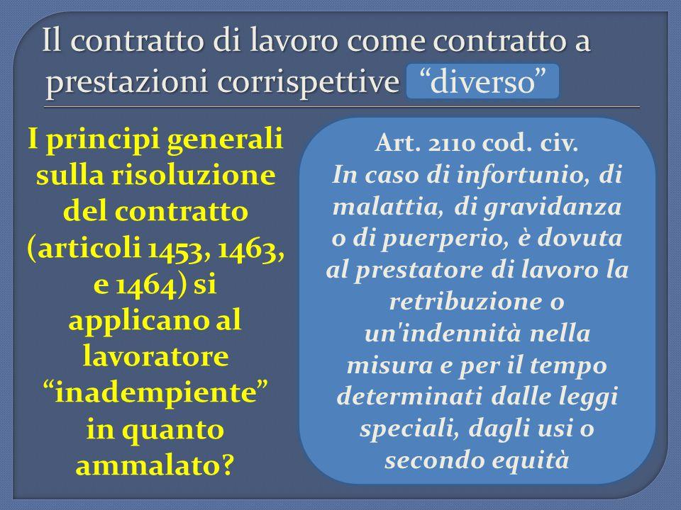 Il contratto di lavoro come contratto a prestazioni corrispettive I principi generali sulla risoluzione del contratto (articoli 1453, 1463, e 1464) si