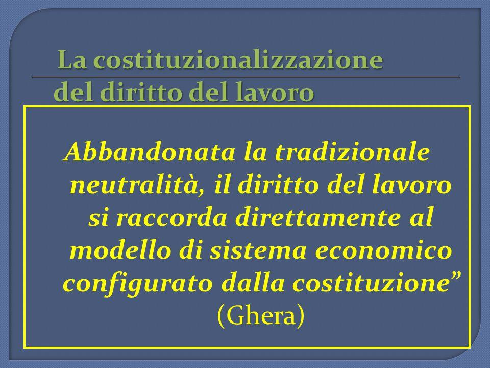 La costituzionalizzazione del diritto del lavoro La costituzionalizzazione del diritto del lavoro Abbandonata la tradizionale neutralità, il diritto del lavoro si raccorda direttamente al modello di sistema economico configurato dalla costituzione (Ghera)