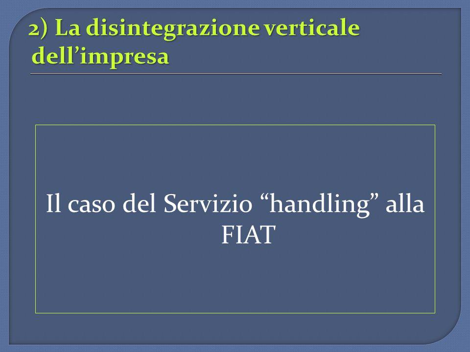 """2) La disintegrazione verticale dell'impresa Il caso del Servizio """"handling"""" alla FIAT"""
