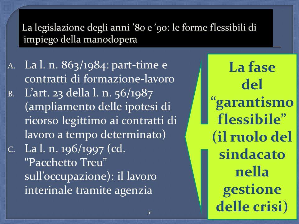 51 La legislazione degli anni '80 e '90: le forme flessibili di impiego della manodopera A. La l. n. 863/1984: part-time e contratti di formazione-lav