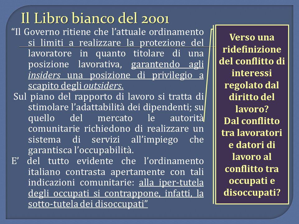 Il Libro bianco del 2001 Il Governo ritiene che l'attuale ordinamento si limiti a realizzare la protezione del lavoratore in quanto titolare di una posizione lavorativa, garantendo agli insiders una posizione di privilegio a scapito degli outsiders.