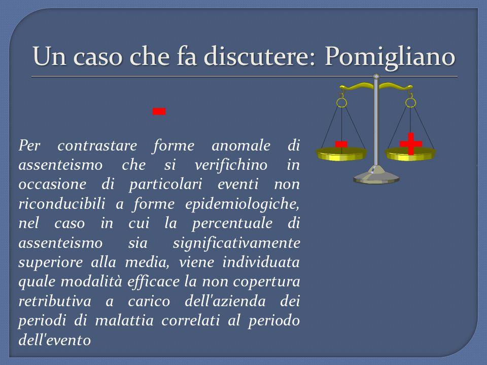 Un caso che fa discutere: Pomigliano - Per contrastare forme anomale di assenteismo che si verifichino in occasione di particolari eventi non riconduc
