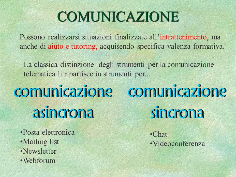 COMUNICAZIONE Possono realizzarsi situazioni finalizzate all'intrattenimento, ma anche di aiuto e tutoring, acquisendo specifica valenza formativa.