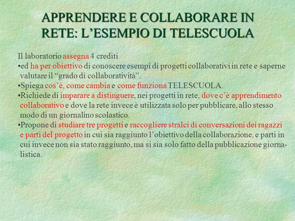 APPRENDERE E COLLABORARE IN RETE: L'ESEMPIO DI TELESCUOLA Il laboratorio assegna 4 crediti ed ha per obiettivo di conoscere esempi di progetti collaborativi in rete e saperne valutare il grado di collaboratività .